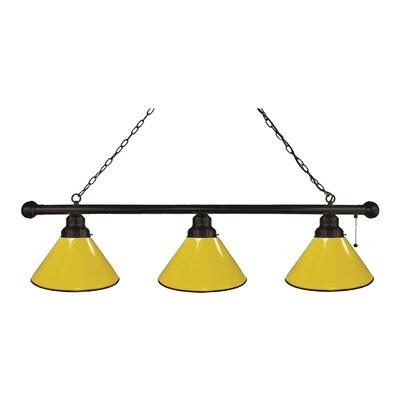 3-Light Pool Table Light Finish: Black, Shade Color: Yellow