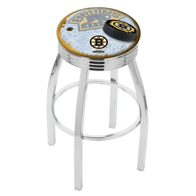 Boston Bruins 25 Inch L8C3C Chrome With Ribbed Accent Ring Bar Stool L8C3C25BosBru-D2