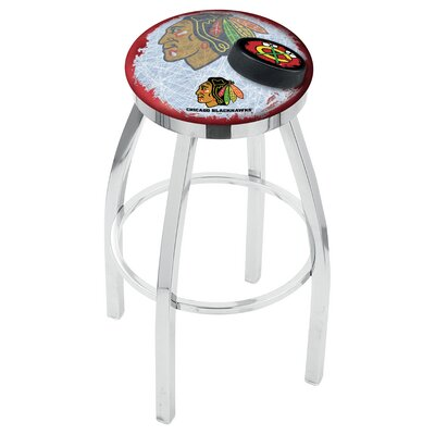 NHL Swivel Bar Stool with Cushion NHL Team: Chicago Blackhawks - Red