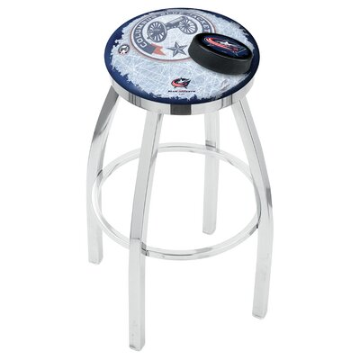 NHL Swivel Bar Stool with Cushion NHL Team: Columbus Blue Jackets