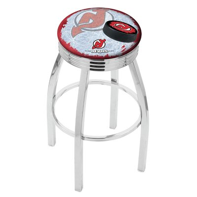 New Jersey Devils 30 Inch L8C3C Chrome With Ribbed Accent Ring Bar Stool L8C3C30NJDevl-D2