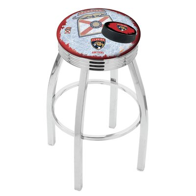 Florida Panthers 25 Inch L8C3C Chrome With Ribbed Accent Ring Bar Stool L8C3C25FlaPan-D2
