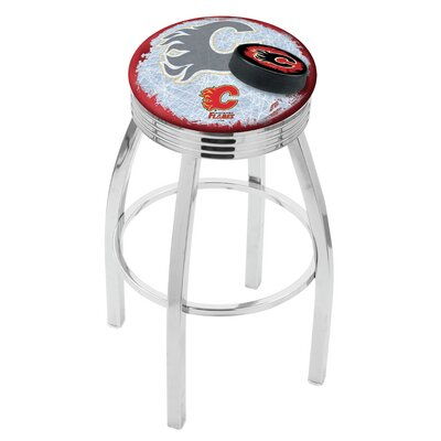 Calgary Flames 30 Inch L8C3C Chrome With Ribbed Accent Ring Bar Stool L8C3C30CalFla-D2