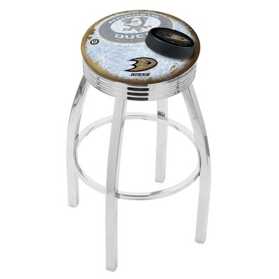 Anaheim Ducks 25 Inch L8C3C Chrome With Ribbed Accent Ring Bar Stool L8C3C25AnaDks-D2