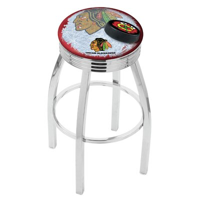 Chicago Blackhawks Bar Stool W/red Background-l8c3c - L8c3c25chihwk-r-d2 - Chairs Table Nhl L8C3C25CHIHWK-R-D2