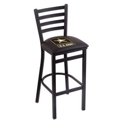 U.S. Armed Forces Bar Stool with Cushion Upholstery: Black, Branch: U.S. Army