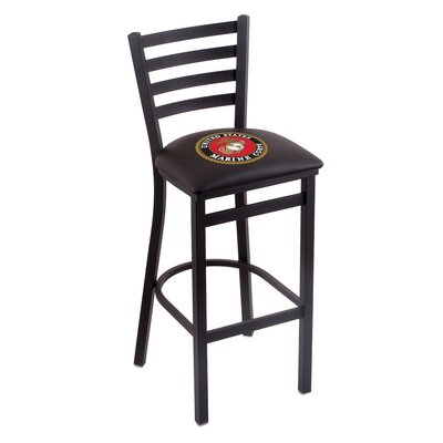U.S. Armed Forces Bar Stool with Cushion Upholstery: Black, Branch: U.S. Marines