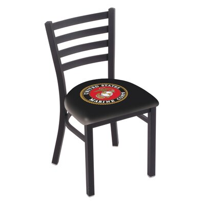 U.S. Armed Forces Stationary Side Chair Upholstery: Black, Branch: U.S. Marines