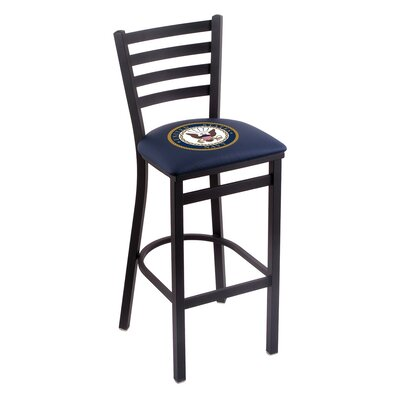 U.S. Armed Forces Bar Stool Upholstery: Blue, Branch: U.S. Navy