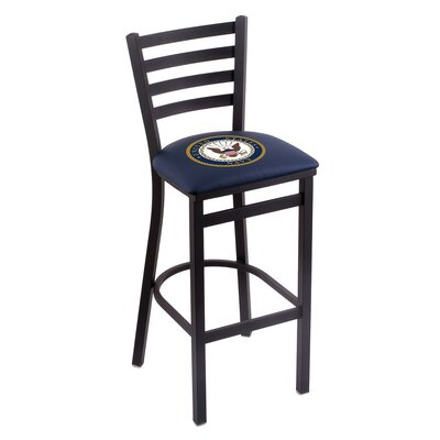 U.S. Armed Forces Bar Stool with Cushion Upholstery: Blue, Branch: U.S. Navy