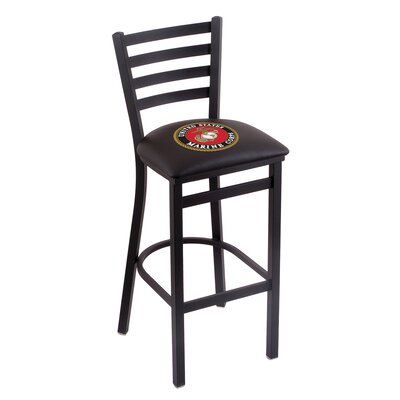 U.S. Armed Forces Bar Stool Upholstery: Black, Branch: U.S. Marines