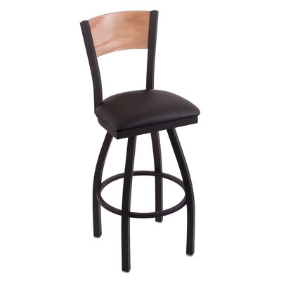 Corvette Swivel Bar Stool with Cushion Upholstery: Black Vinyl