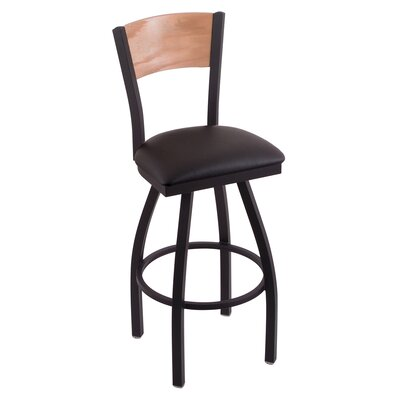 Canadian Club Swivel Bar Stool with Cushion Upholstery: Black Vinyl