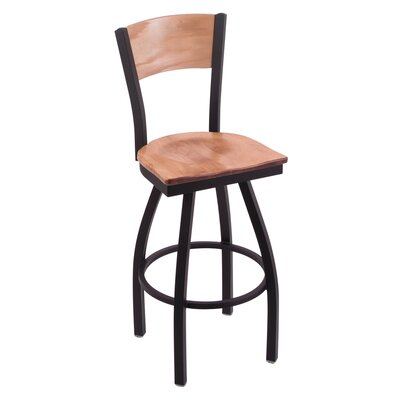 Canadian Club Swivel Bar Stool with Cushion Upholstery: Medium Maple