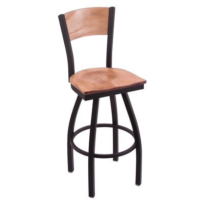 Jim Beam Swivel Bar Stool Upholstery: Medium Maple