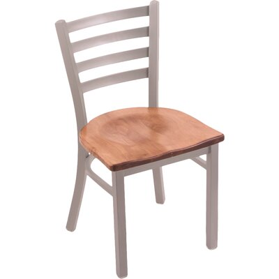 Jackie Solid Wood Dining Chair Base Finish: Anodized Nickel, Upholstery: Medium Oak