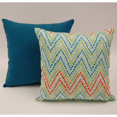 2 Piece Trend Spotter Knife Edge Cotton Throw Pillow Set Color: Capri