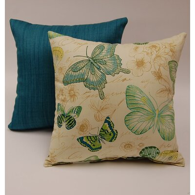 2 Piece Papillon Knife Edge Cotton Throw Pillow Set