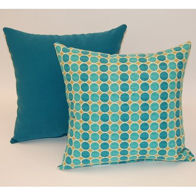 2 Piece Round Trip Knife Edge Cotton Throw Pillow Set Color: Lagoon