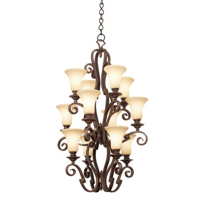 Ibiza 12-Light Foyer Pendant Finish: Antique Copper, Shade Type: Travertine