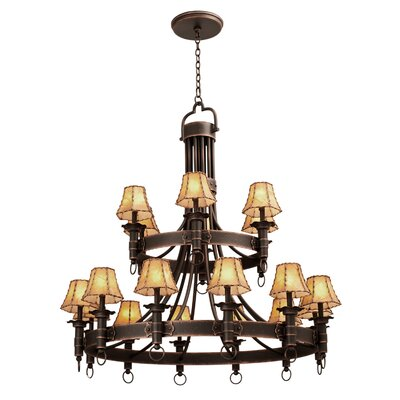 Americana 18-Light Shaded Chandelier Finish: Antique Copper, Shade Type: Large Beaded Taupe