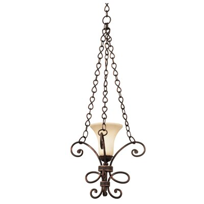Amelie 1-Light Mini Pendant Shade Type: Champagne Small Oval Glass, Finish: Tortoise Shell