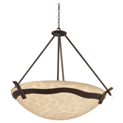 Aegean 6-Light Bowl Pendant Shade Type: Art Nouveau Penshell, Finish: Tawny Port