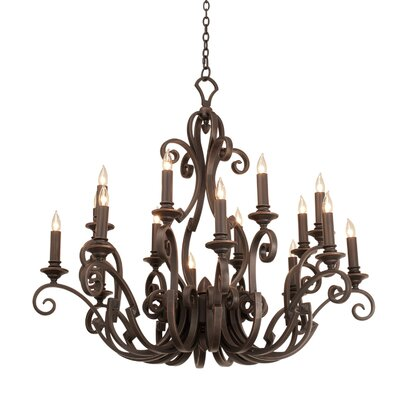Ibiza 16-Light Candle-Style Chandelier Finish: Copper Claret, Shade Type: Gold Organza