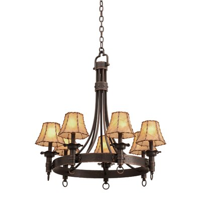 Americana 7-Light Shaded Chandelier Finish: Antique Copper, Shade Type: Black Organza