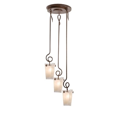 Tribecca 3-Light Foyer Pendant Shade Type: Antique Filigree, Finish: Tortoise Shell