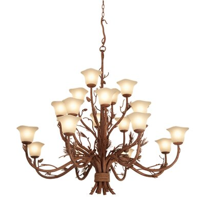Ponderosa 20-Light Shaded Chandelier Shade Type: Champagne Small Oval Glass