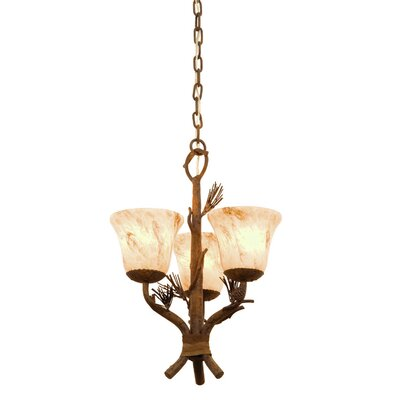 Ponderosa 3-Light Shaded Chandelier Shade Type: Waterfall