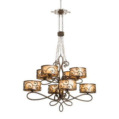 Windsor 40-Light Drum Chandelier Finish: Antique Copper, Shade: Tea stained mica shade