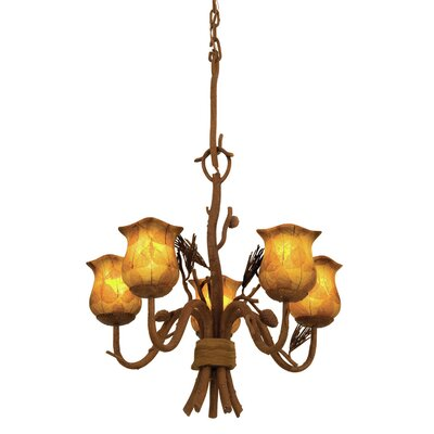 Ponderosa 5-Light Shaded Chandelier Shade Type: Champagne Small Oval Glass