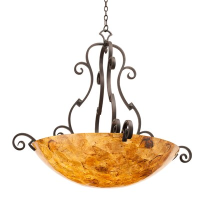 Ibiza 6-Light Bowl Pendant Finish: Antique Copper, Shade Type: Art Nouveau Penshell