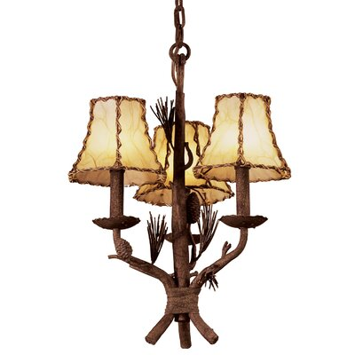Ponderosa 3-Light Shaded Chandelier Shade Type: Iridescent Violet Organza