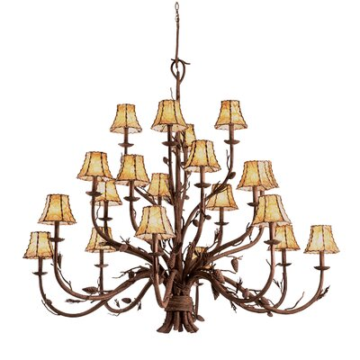 Ponderosa 20-Light Shaded Chandelier Shade Type: Champagne Mica
