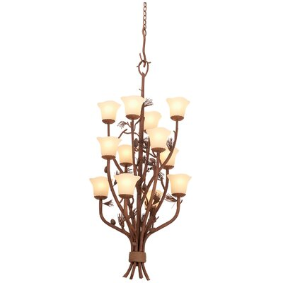 Ponderosa 12-Light Shaded Chandelier Shade Type: Large Piastra