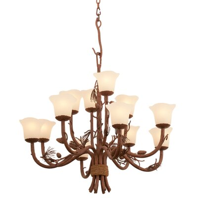 Ponderosa 12-Light Shaded Chandelier Shade Type: Champagne Small Oval Glass