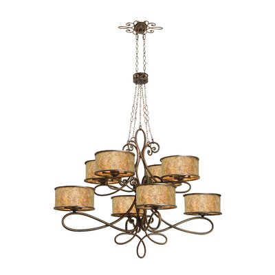Whitfield 40-Light Drum Chandelier Finish: Antique Copper, Shade: Shade, Stained Champagne Mica