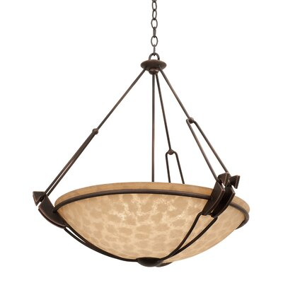 Grande 5-Light Bowl Pendant Finish: Antique Copper, Shade Type: Penshell