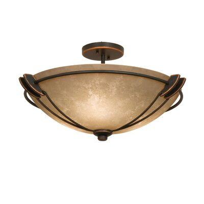 Grande 3-Light Semi Flush Mount Finish: Antique Copper, Shade Type: White Alabaster