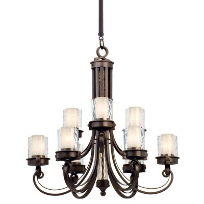 Newport 9-Light Shaded Chandelier Finish: Satin Bronze, Shade: Calcite glass
