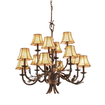 Ponderosa 12-Light Shaded Chandelier Shade Type: Leather-Wrapped