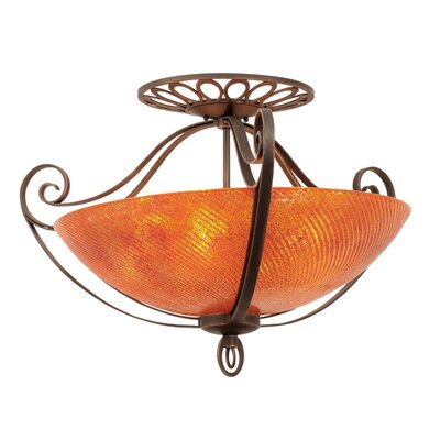 Mirabelle 5-Light Semi Flush Mount Finish: Antique Copper, Shade Type: Gold-streaked Amber