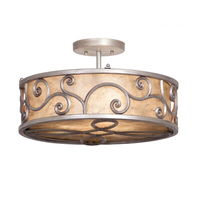 Windsor 3-Light Semi Flush Mount Finish: Aged Silver, Shade: Shade, Silver Mica