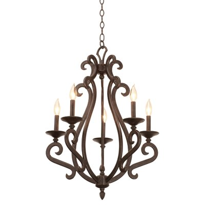 Santa Barbara 5-Light Candle-Style Chandelier Shade Type: Golden Beige Organza
