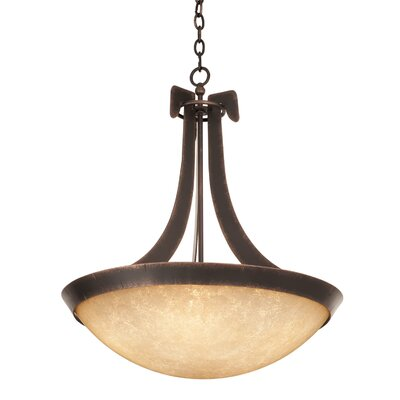 Copenhagen 5-Light Bowl Pendant Finish: Antique Copper, Shade Type: Gold-streaked Amber