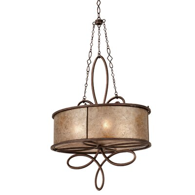 Whitfield 4-Light Drum Pendant Finish: Antique Copper, Shade Color: Stained Champagne Mica
