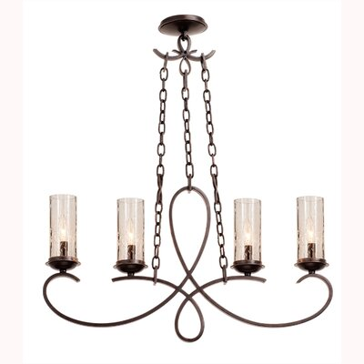 Grayson 4-Light Kitchen Island Pendant Shade Type: Seeded Side Glass